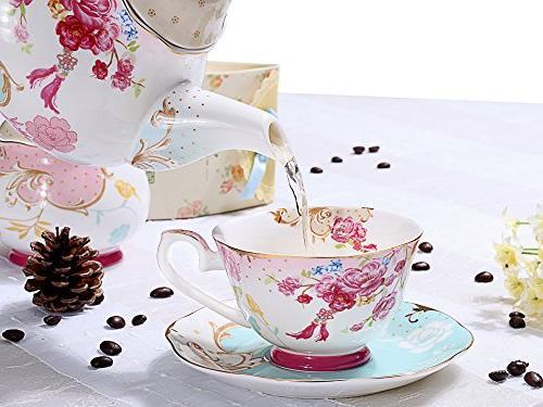AWHOME China Teacup and Saucer Sets Vintage Royal Red Set 7-OZ
