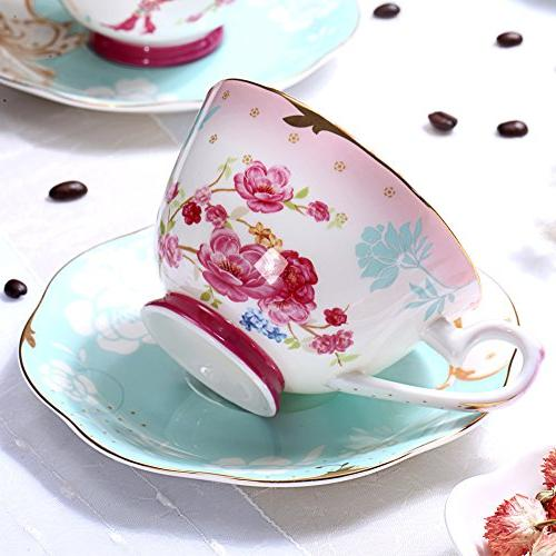 AWHOME Bone and Saucer Sets Royal Tea Red Flower Set 7-OZ