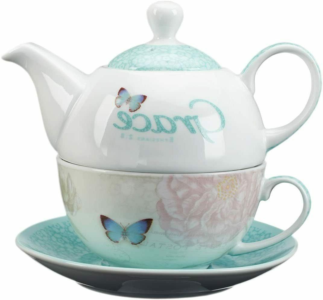Botanic Tea Set: & Teal Grn