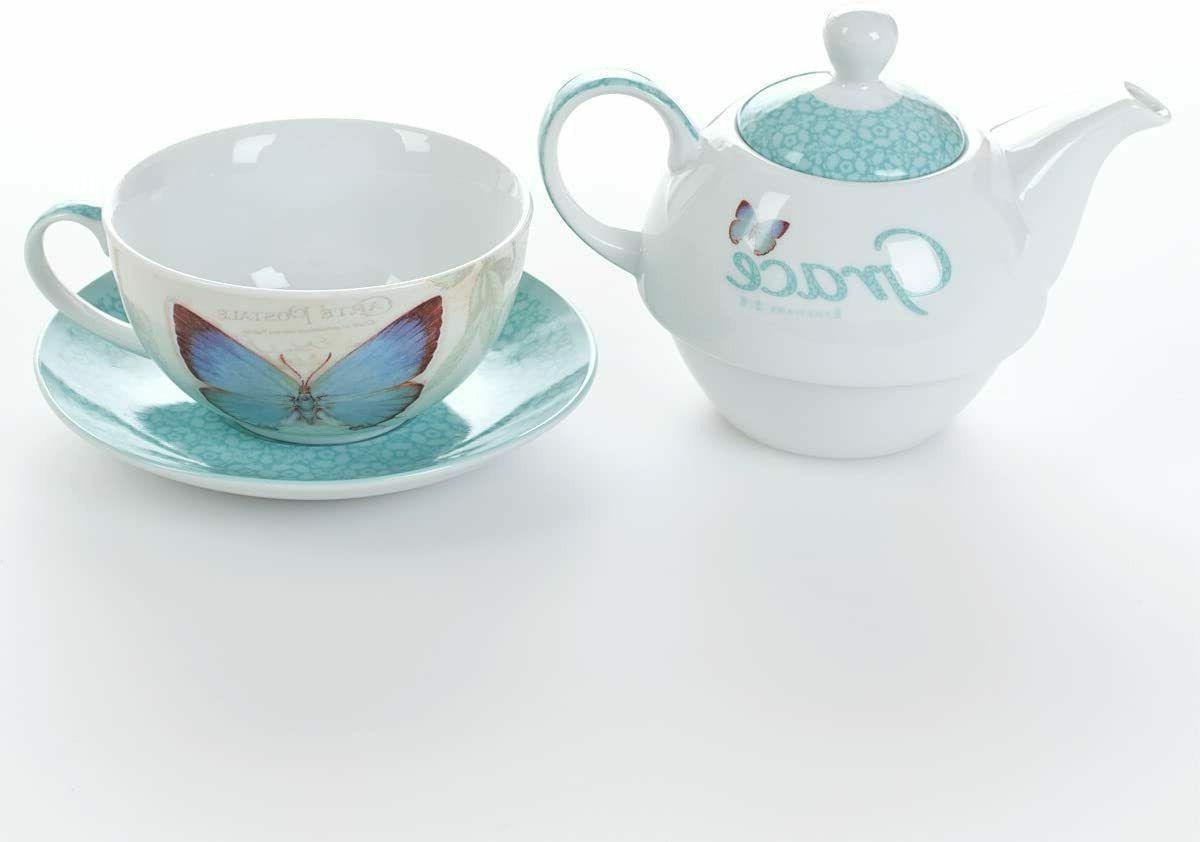 Botanic Blessings Tea Set: Teapot, & Teal Blue