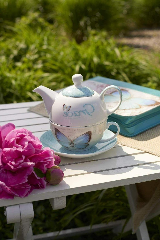 """Botanic """"Grace"""" Tea Set: Teapot, Cup & Teal Grn"""