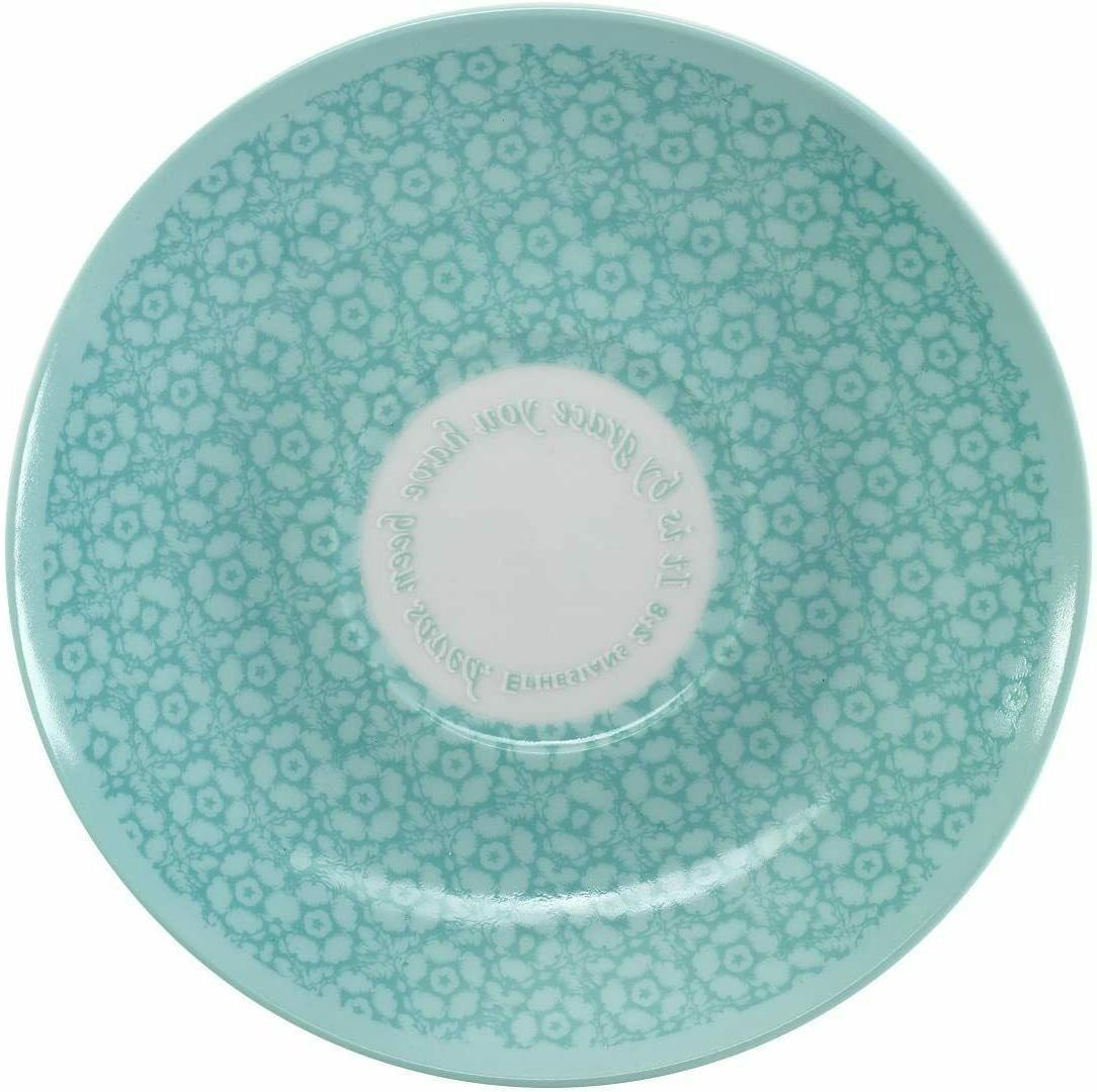 Botanic Tea Cup & Saucer, Teal Blue Grn