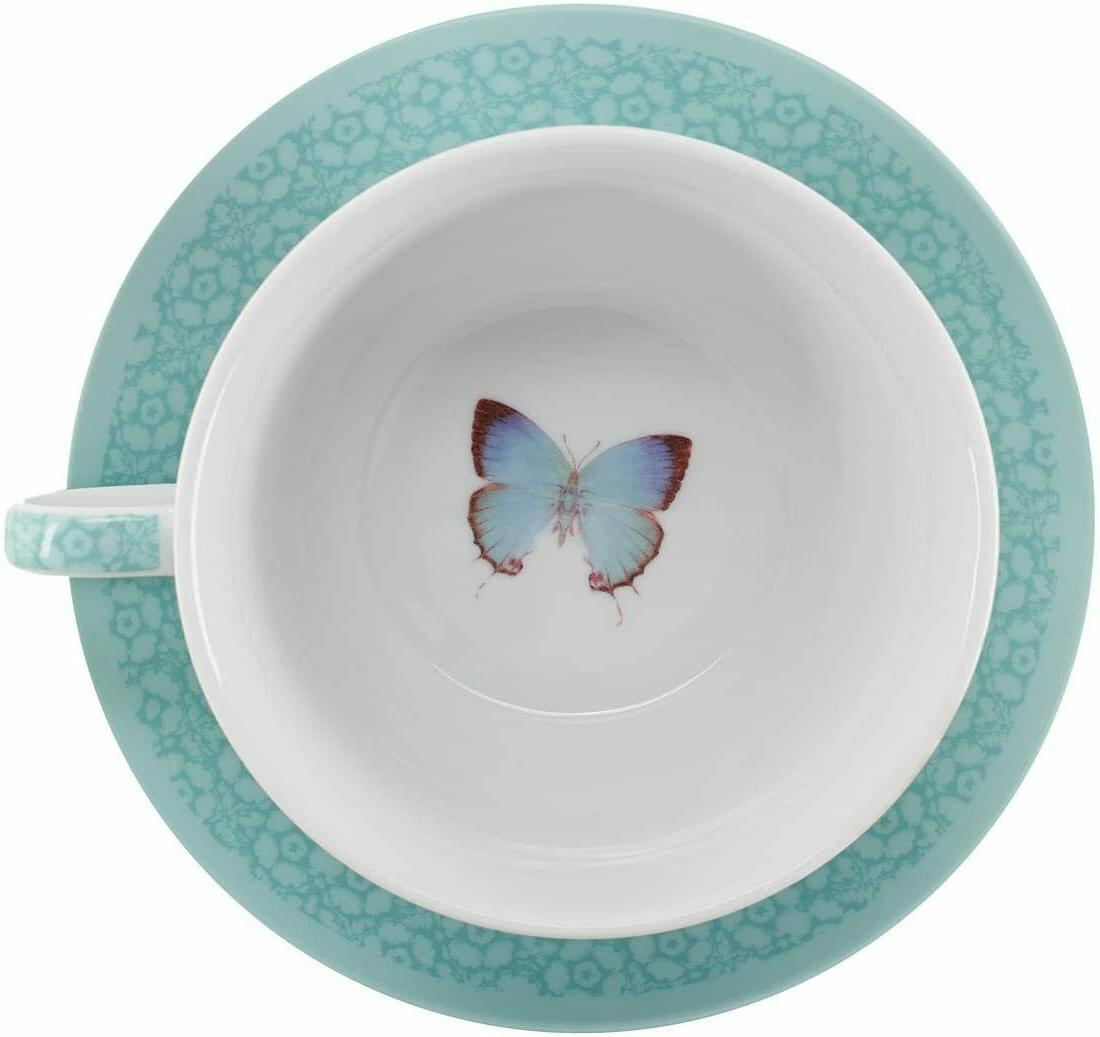 Botanic Tea Teapot, & Saucer, Teal Grn