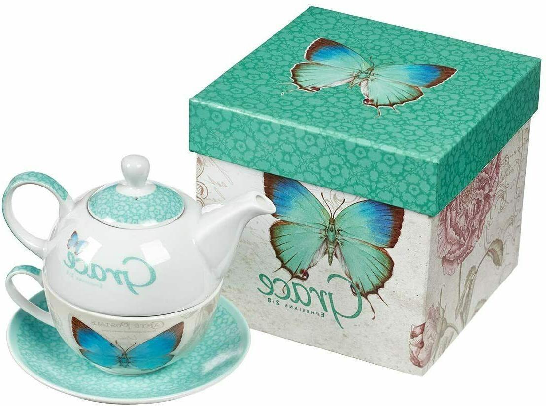 botanic butterfly blessings grace tea set teapot