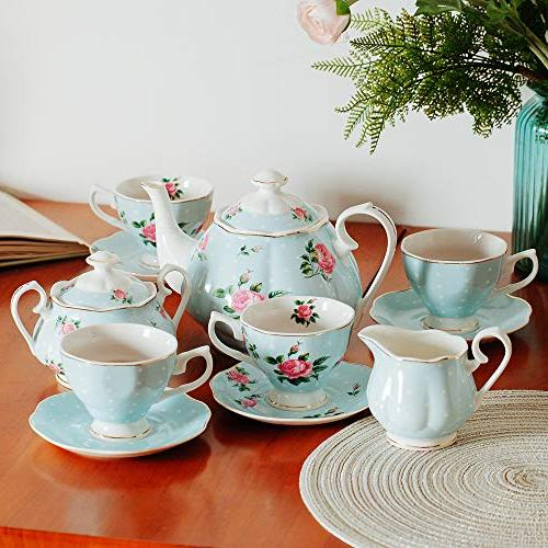 BTäT- Tea Tea , Pot , Sugar Set, Gift Sets for Women, Cups and Tea Adults, 4 Tea Cups Set, Porcelain Tea Set