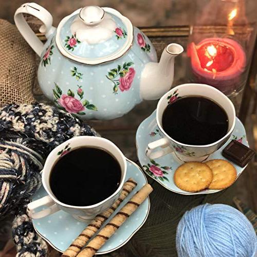 BTäT- Tea , Pot , Sugar China Tea Tea Sets Tea Cups Tea Adults, 4 Tea Cups Porcelain Tea Set