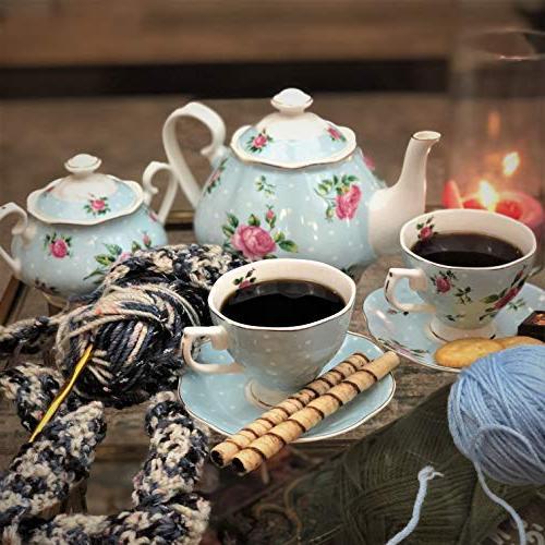 BTäT- Tea cups Pot , Sugar Gift box, China Tea Set, Tea Sets Women, Cups and Saucer Tea 4 Tea Set, Porcelain Tea Set