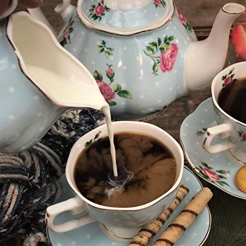 BTäT- Floral Tea cups Pot Creamer and Sugar China Cups Tea 4 Tea Cups Porcelain Tea Set