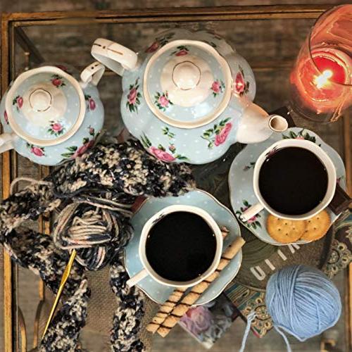 BTäT- Tea Pot , Sugar Gift China Tea Tea Sets Women, Cups Saucer Tea Set for 4 Porcelain Tea