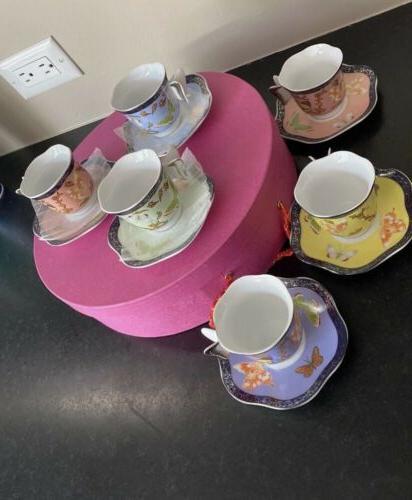 Butterfly Coffee/tea & Saucer Set Of 6