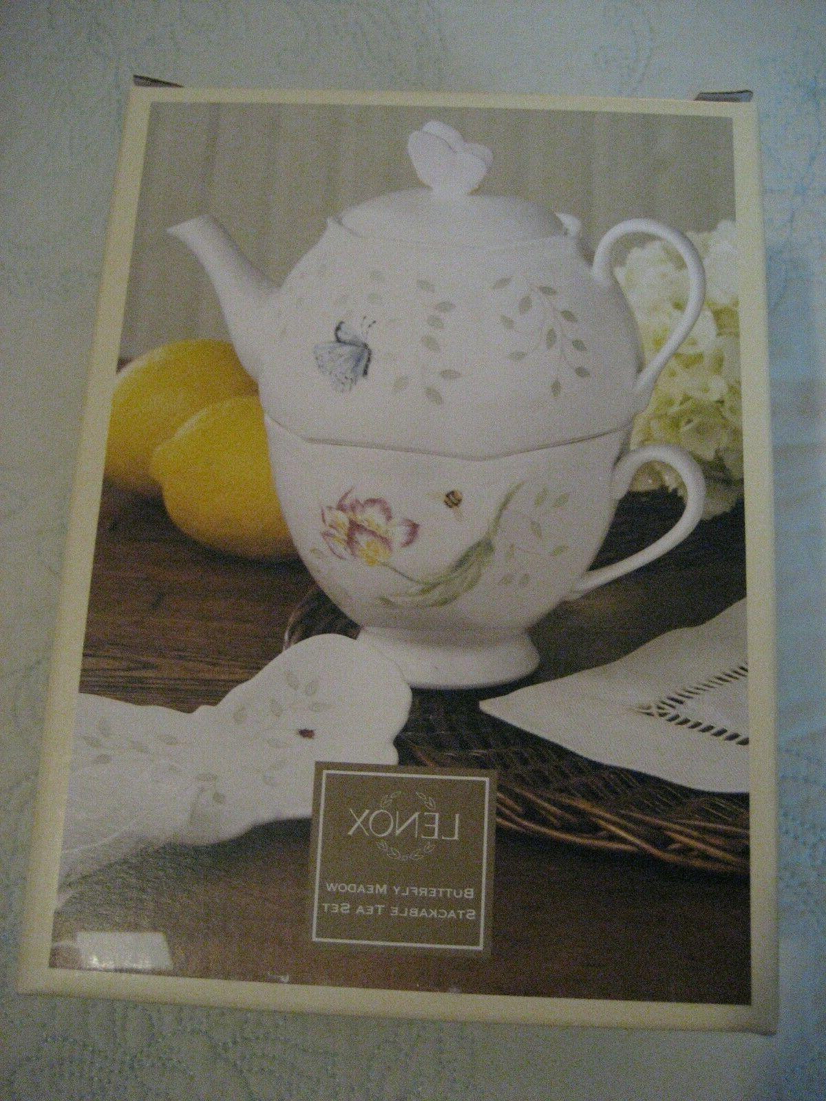 butterfly meadow stackable tea set with bag
