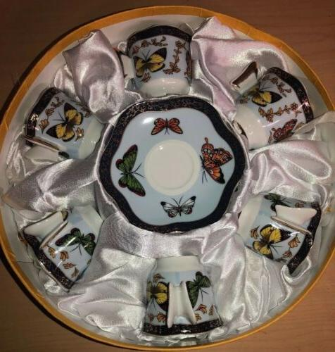 Butterfly Tea Set Nwt Set of 6 CC&T Tea Cups and Saucers Bea