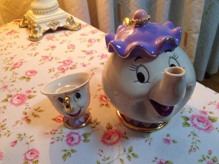 Beast Teapot Mug Mrs Potts Pot <font><b>Set</b></font> Porcelain Gift Gold-plated Enamel