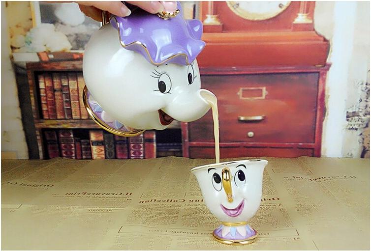 Cartoon Beast Teapot Potts Cogsworth Pot Gift Enamel