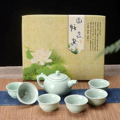 celadon teapot chinese ceramic tea set fish