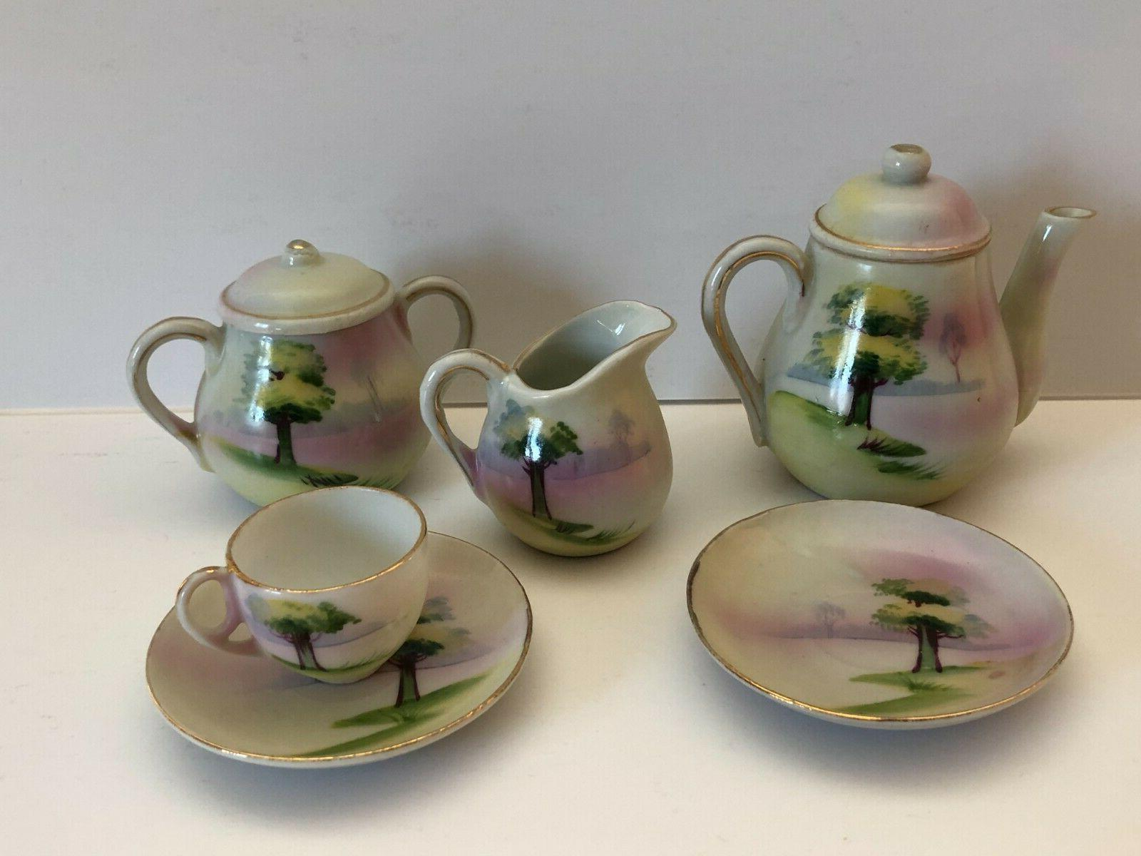ceramic miniature tea set 8 pieces