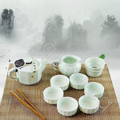 Chinese 10 Green Porcelain Tea Cups