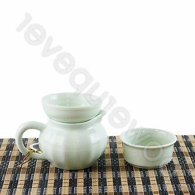 Chinese 10 Light Green Tea Porcelain Pot Cups