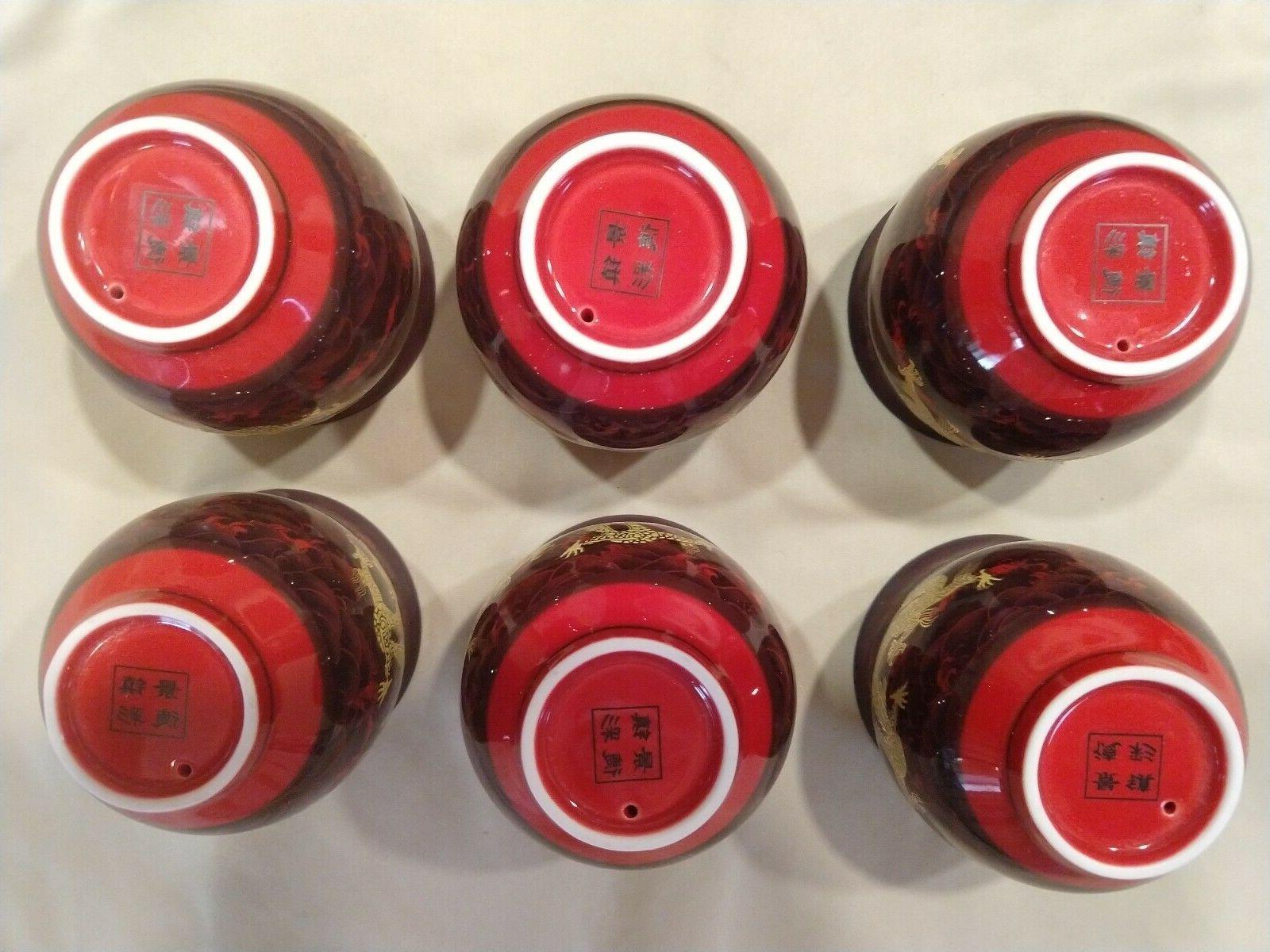 Chinese Dragon porcelain Shunlong boxed set teapot pot 6 cups