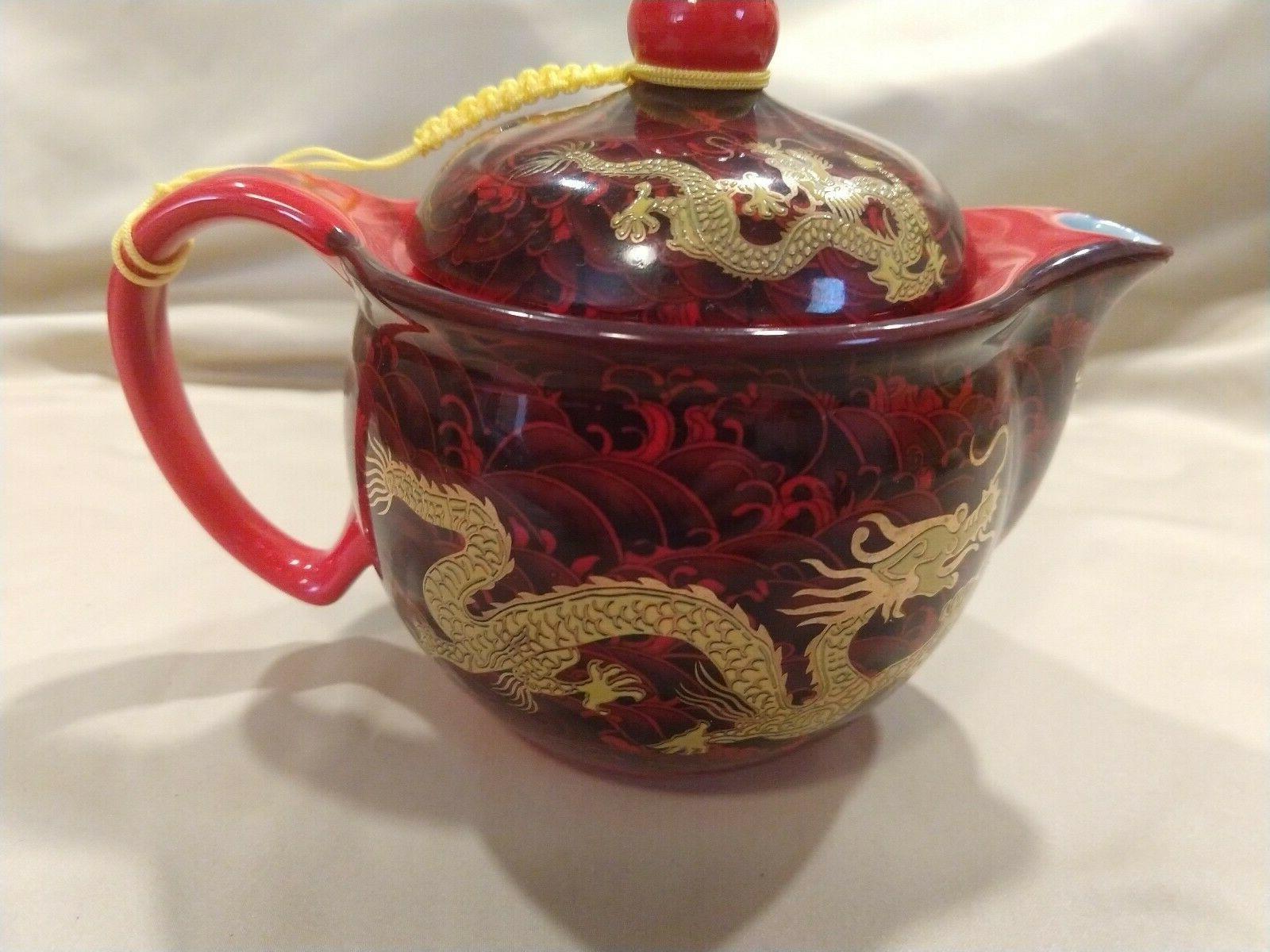 Chinese Dragon Shunlong boxed tea set teapot ceramic pot cups