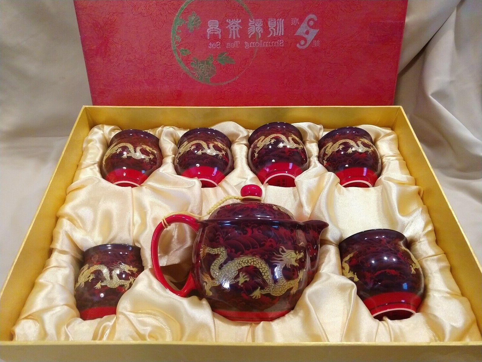 chinese dragon porcelain boxed tea set china