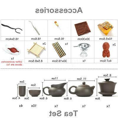Chinese Fu House Tea Set Purple Teapot Tray