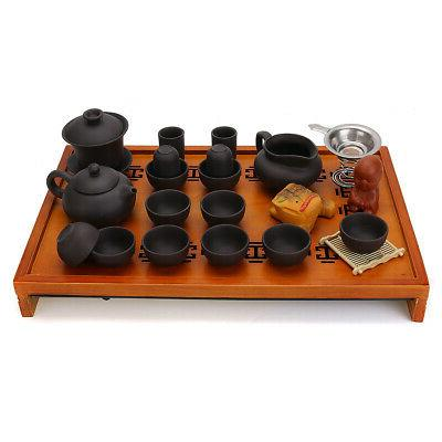 Chinese House Ceremony Purple Teapot Cup&Wood Tray