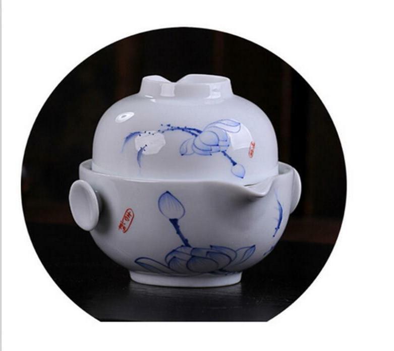 Chinese Set Ceramic Pot Gaiwan Teapot Cup