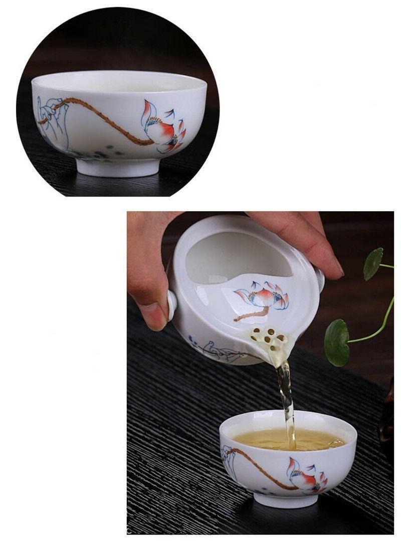 Chinese Traditional Tea Set Ceramic Tea Pot Elegant Gaiwan