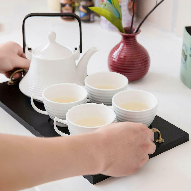 Classic Ceramic Tea Set, Vintage Tray, Teapot Teacups