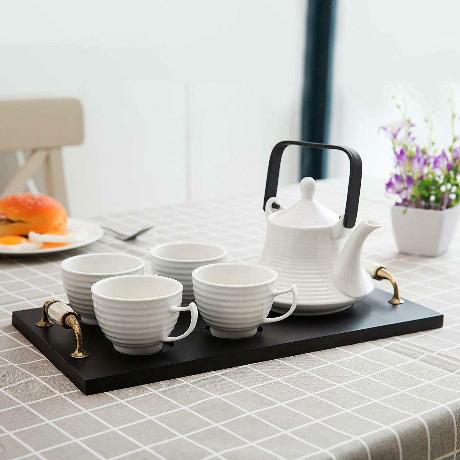 Classic Ribbed Ceramic Tea Serving Tray, & Teacups