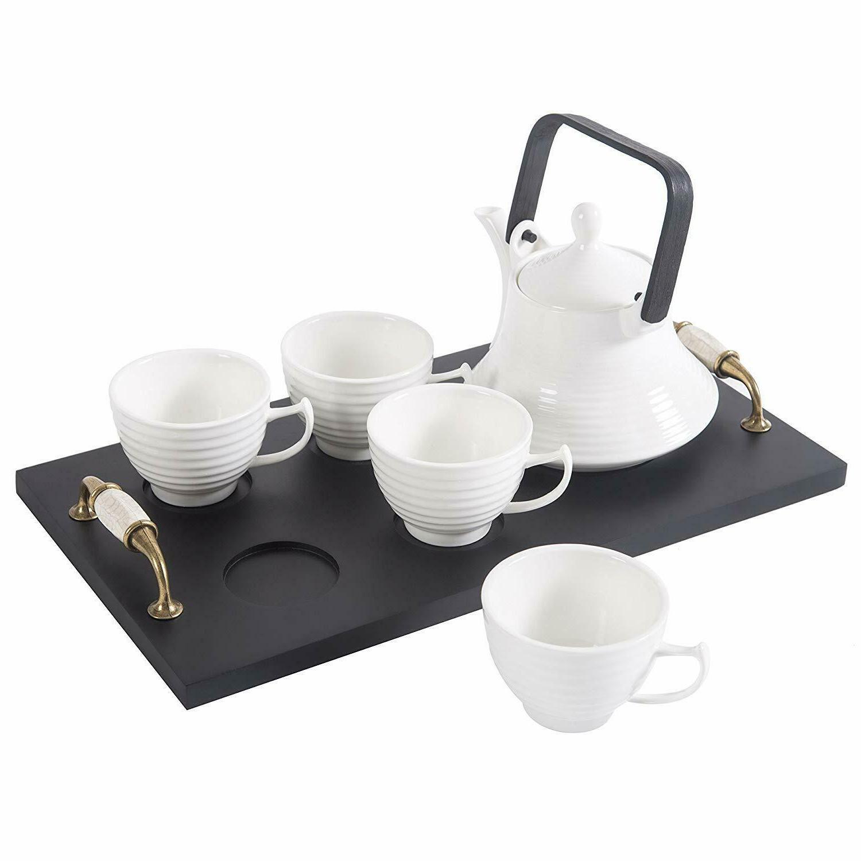 classic white ribbed ceramic tea set vintage