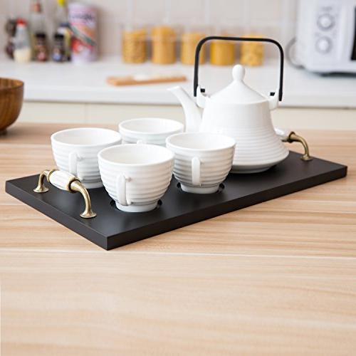 Classic Ribbed Ceramic Tea Set, Vintage Tray, Teapot & Teacups