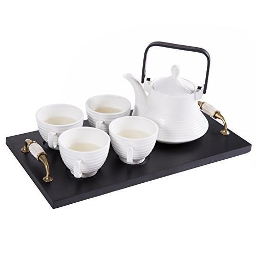 classic white ribbed ceramic tea