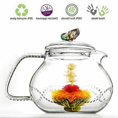 Tea Beyond Clear Glass Teapot Rainbow Butterfly 24 Oz/710Ml