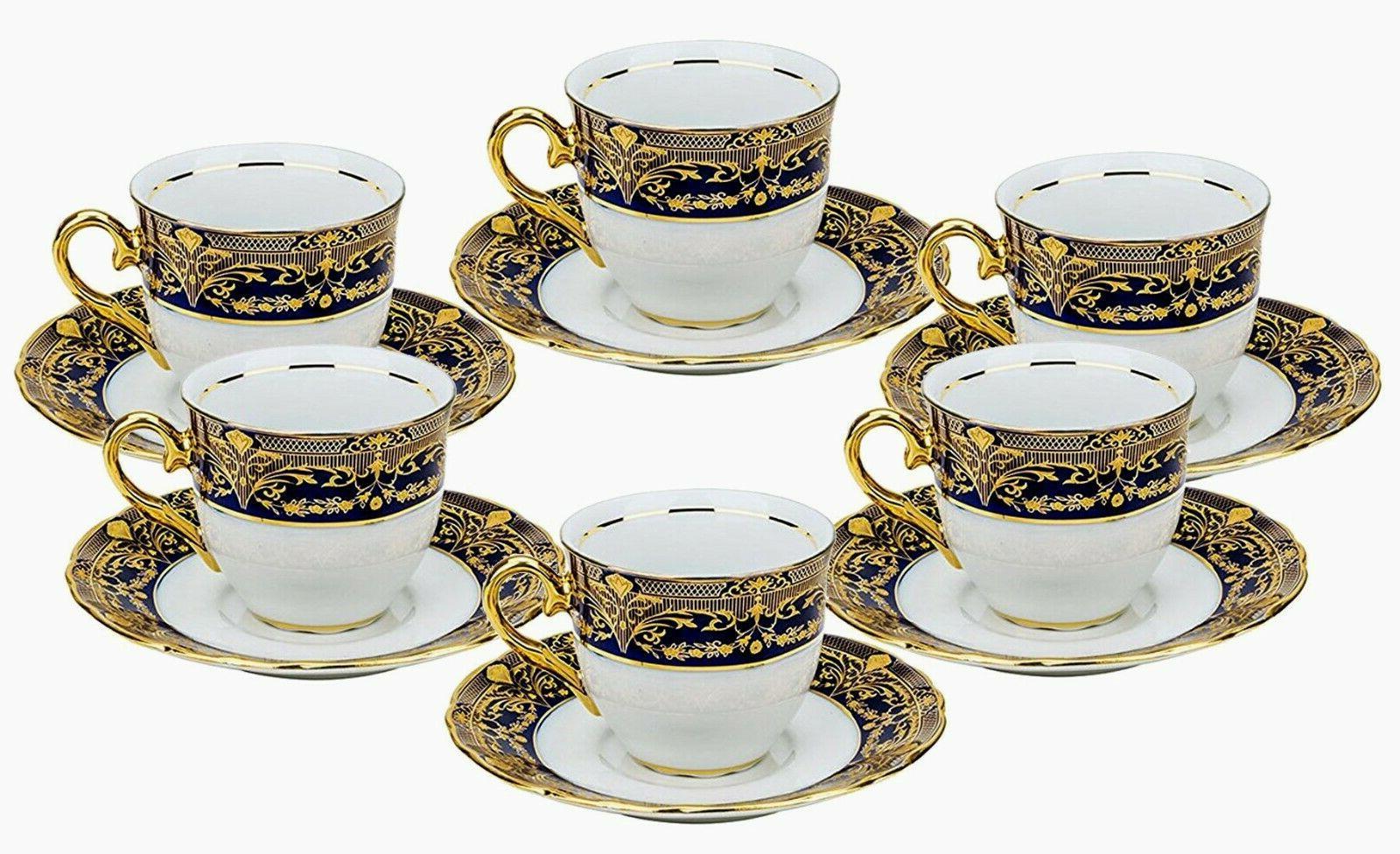 Euro Porcelain 12-pc Cup for 6 Blue 24K Gold