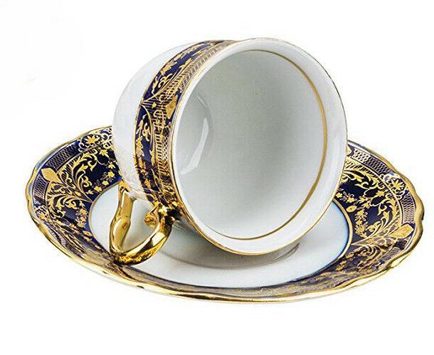 Euro Porcelain 12-pc Tea Cup Coffee for Blue