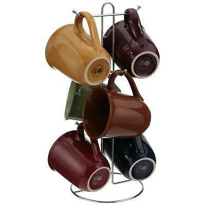 Coffee Tea Mug Set of 6 with Tree Stand Rack Multi Color Dri