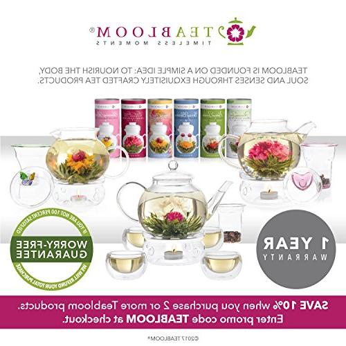 Teabloom Blooming - Glass Teas, Tea 4 Double Teacups Removable Glass Loose Leaf Tea Complete Flowering Gift Set
