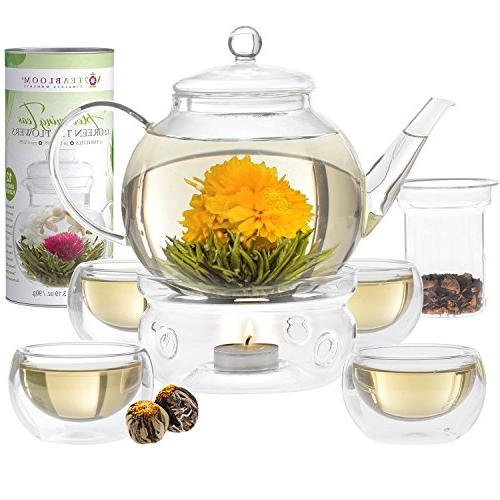Teabloom Set - Safe Glass Teapot Flowering Teas, Tea Double Wall Removable Loose Tea Complete Set