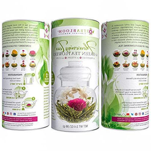 Teabloom Blooming Tea - Safe Teapot 12 Teas, Double Teacups Removable Infuser Loose Complete Flowering Tea Gift Set