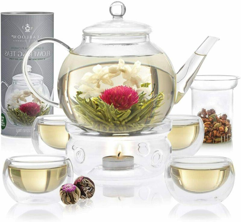 Teabloom Set - Teapot Double Wall Removable Loose Complete Set
