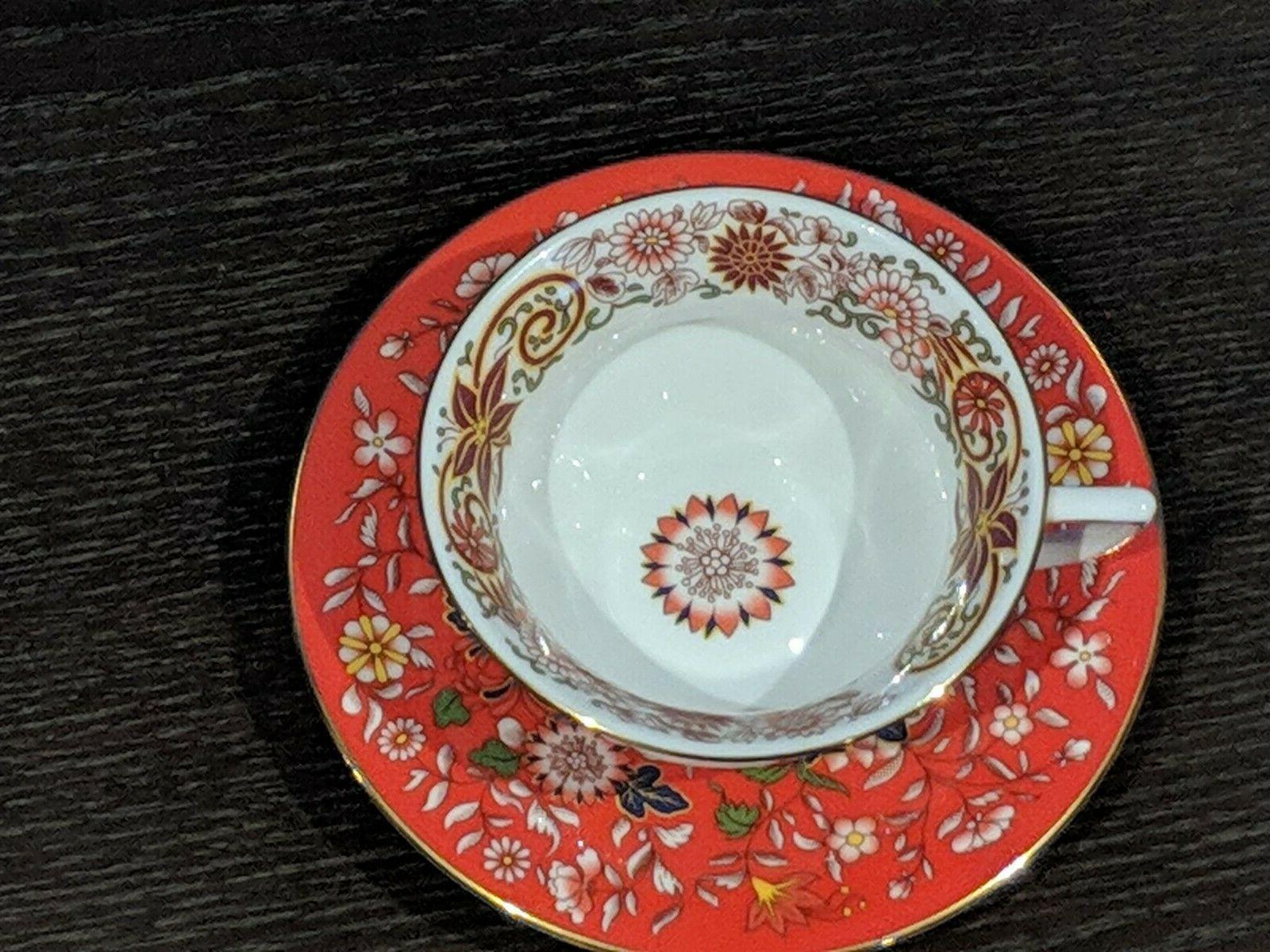crimson orient tea cup and saucer set