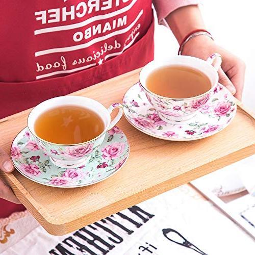 BTäT- Tea Cups Saucers Set of 4, Floral Tea Tea Set, Tea for Party, Teacups, Tea