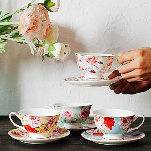 BTäT- Tea Cups, Tea Cups and of 4, Tea Floral Tea Tea Tea Tea for Teacups, China Tea