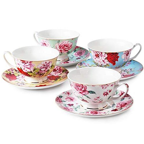 BTäT- Cups and Saucers of 4, Floral Tea Cups Tea Saucers Set, Tea Porcelain Tea Cups, for Tea Teacups, Tea