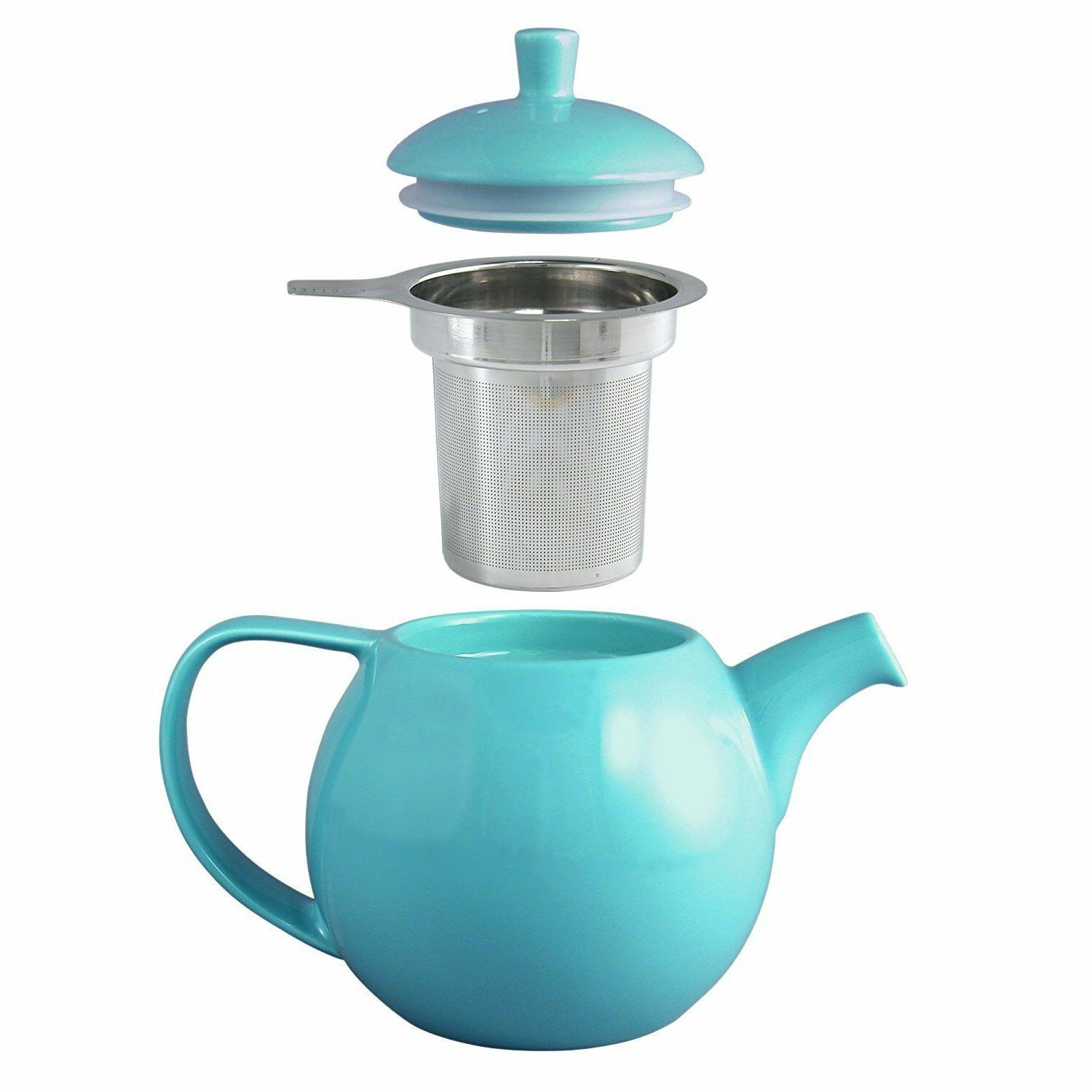FORLIFE Curve 24-Ounce Teapot with Infuser Turquoise