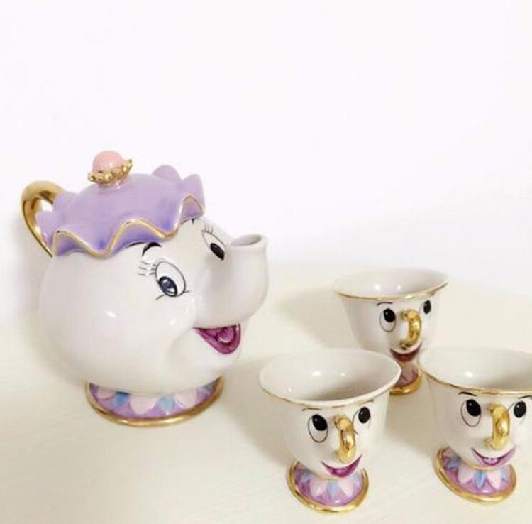 Cute Cartoon Beauty The Beast <font><b>Tea</b></font> <font><b>Set</b></font> Mug Chip <font><b>Set</b></font> Friend