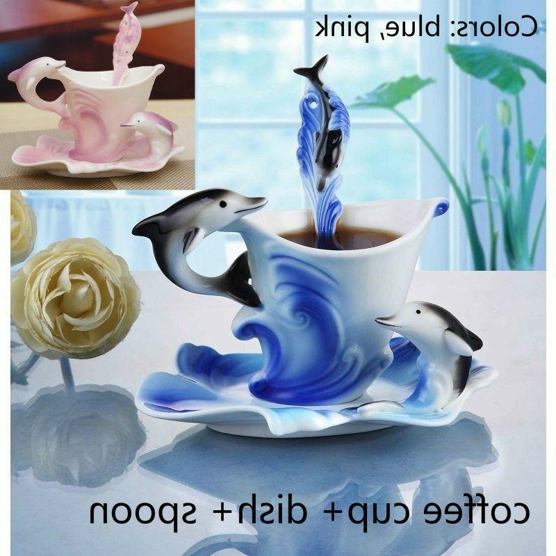dolphin pattern porcelain coffee mug set
