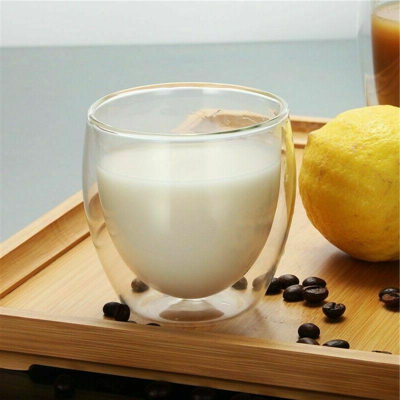 Double Espresso Glass Cups Set 2 Tea